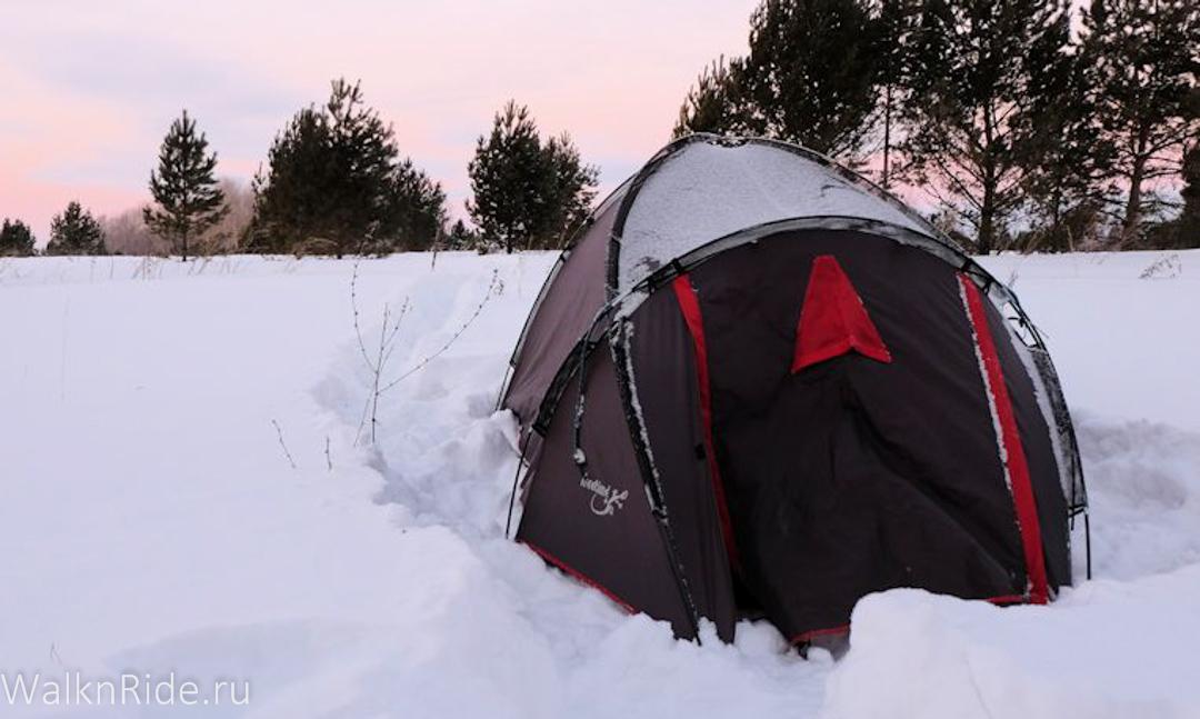 Ночевка в палатке зимой